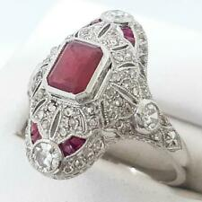 Platinum 1.65ctw Ruby & Old European Cut H-SI Diamond Navette Ring Size 6.75 6g