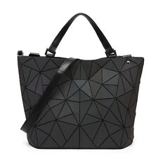 Women Japan Style Handbag Geometric Laser Luminous Lingge Shoulder Bucket Bag
