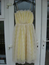 Exclusive Design TOPSHOP Lemon Yellow White Lace Prom Bridesmaid Dress Size UK 8