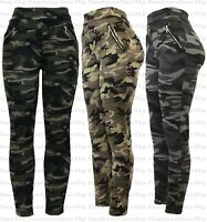 New Ladies Women Camouflage Army Zip Stretchy Pull On Jeggings Legging Size 8-20