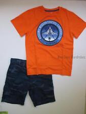 Gymboree Stripes in Space Orange Mission Tee & Blue Camo Shorts Set Boys 7 NWT
