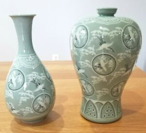 CUT PRICE 2 WKS ONLY 2Korean Celadon Vases Glaze Cranes Inlay New Goryeo dynasty