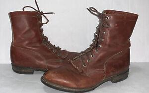 JUSTIN Men's Lace-up Work Kiltie Brown Boots Sz 10.5 D Style 518