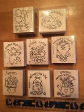 Stampin' UP Rubber Stamps Set Lot #2 French Francais Flowers Baloons Tea Friends