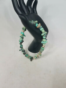 Turquoise Stone Bracelet with Silver Beads,Handmade