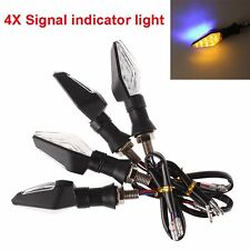 4x Universal Motorcycle Black 12 LED Turn Signal Indicator Blinker Amber Light