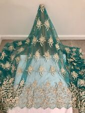 "TEAL GREEN MESH W/GOLD EMBROIDERY PEARL BEADS BRIDAL LACE FABRIC 52"" WIDE 1 YD"