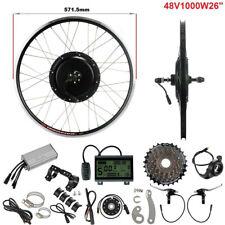 """Nero 48V 1000W 26"""" Motore + 7S Freewheel Ruota Posteriore Kit Conversione E-bike"""