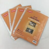 LOT 4 NEW Staples 4 x 6 Photo Pages for Standard 3-Ring Binders 10 2-pocket Shee