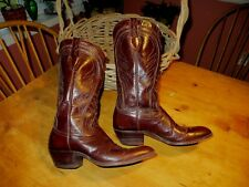 Dan Post mid calf brown leather western stitching cowboy boots 8-8.5 N *EUC!