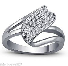 Pave Setting Of Cubic Zirconia Stones 925 Sterling Silver Lovely Ring With Micro