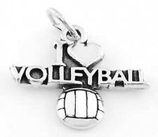 STERLING SILVER I LOVE VOLLEYBALL CHARM PENDANT