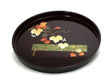"""Japanese 11.75""""D Lacquer Food Serving Candy Tea Tray Hiromi Grapes Made in Japan"""