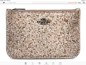 COACH 38921 Glitter Zip Card Case Leather Gold/ Platinum