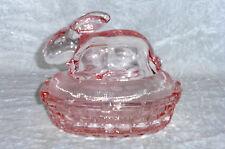 Figürliche Pressglas Dose Hase auf Nest Rosalin Glas Butterhuhn rosa ca. 14 cm