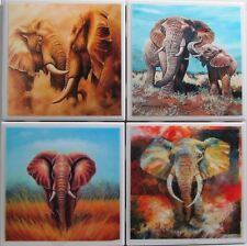 Set of 4 - Handmade Natural Stone Ceramic Tile Drink Coasters - Elephants 7 A