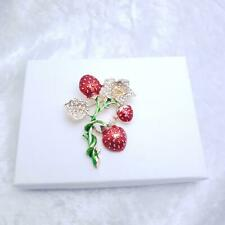 Strawberry Flower Brooch Gold & Red enamel.   Vintage Retro Style Gift