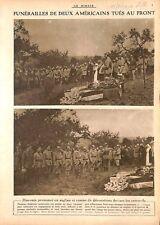 Obsèques de Sammies Soldats Tué à Hurtebise en Picardie WWI 1917 ILLUSTRATION