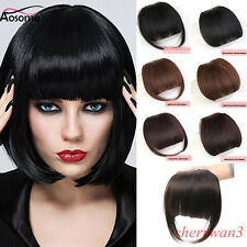 New Human Hair Neat Bangs Clip in Front Fringe Hairpiece Clip On Bang Extension