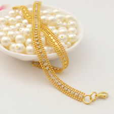 White Crystal Inlaid 14K Yellow Gold Filled  Sparking Soft Bracelet Chain