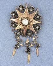 Womens 14ct Rose Gold & Diamond Brooch VINTAGE HANDMADE  Jewelery