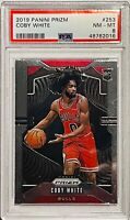 COBY WHITE ROOKIE 2019 PANINI PRIZM CARD #253 PSA GRADED MINT 8 CHICAGO BULLS RC