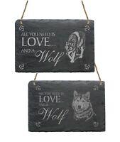 Schiefertafel Schild Love & WOLF Tier Wandschild Spruchtafel Dekotafel Schiefer