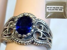 BLUE HELENITE RING SIZE 7 ANTIQUE 925 STERLING SILVER plus 1980 VOLCANIC ASH