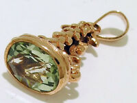 P014- Genuine 9ct Rose GOLD Natural Green Amethyst Oval FOB or PENDANT