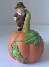 Vintage Avon Porcelain Dinner Bell Pumpkin Pilgrim Thanksgiving Nib Retired