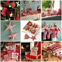 NORDIC CHRISTMAS DECORATIONS SETS SHABBY CHIC WOODEN RED WHITE SCANDI XMAS TREE