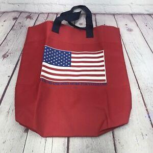 Red USA Flag VFW Nylon Shopper Tote Bag