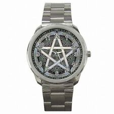 Wicca Pentagram Emblem Witchcraft Wiccan Spell Stainless Steel Watch