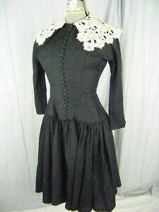 PERETTE Vtg 50s Black Silk Crepe Cream Roses Crochet Lace Dress-Bust 37/2XS/XS
