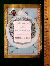 1870s-80s Lovely Owl Crescent Moon T. D. Adams Boots Shoes, Fostoria, Ohio F14