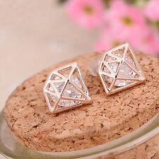 Hollow Diamond Shape Gold Plated Zircon Crystal Rhinestone Ear Stud Earrings