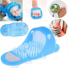 Easy Feet Foot Scrubber Brush Massager Shower Clean Blue Slippers Easy Cleaning