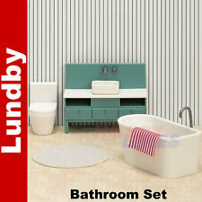 More details for basic bathroom  set doll's house 1:18th scale lundby sweden 60-3068-00