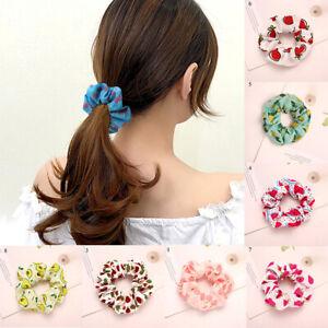 Chiffon Fruit Hair Scrunchies Avocado Print Elastic Rubber Bands Ponytail Holder