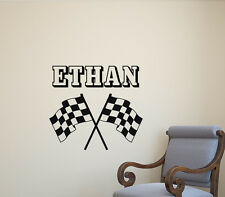 Personalized Racing Wall Decal Race Flags Vinyl Sticker Custom Name Poster 466