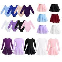 Girls Long Sleeve Ballet Dress Dance Leotard Tutu Wrap Skirt Gymnastics Bodysuit