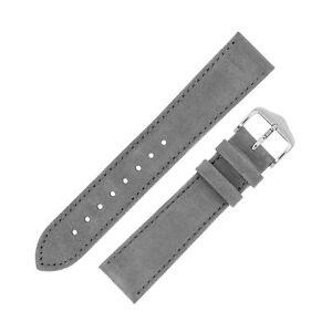 Hirsch OSIRIS Nubuck Fine-Grain Calf Leather Unpadded Watch Strap in GREY