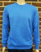 Men`s Jumper Crew Neck Cotton Blend Size Medium Blue Ex-M&S Pullover