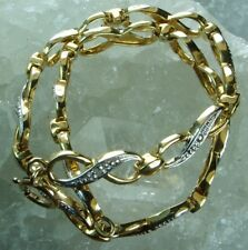 NEW Genuine Solid 9CT Yellow Gold Infinity Link Natural Mined Diamond Bracelet