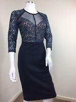 Next Dress UK 10 Blue Navy Lace Overlay Party Cocktail Wedding Elegant Pretty
