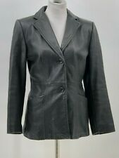 Kenneth Cole Reaction Womens Black Button Front 100% Leather Jacket Sz S