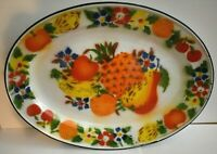 Large Vintage Enamel Platter Painted With Bright Colored Fruit