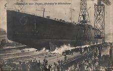18273/ Künstler AK, Stapellauf Kreuzer Hindenburg, Marine Schiffspost, 1915