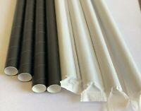 """Straws Disposable Paper Black Giant 8mm  10"""" Wrapped  for Wedding Party 150 pcs"""