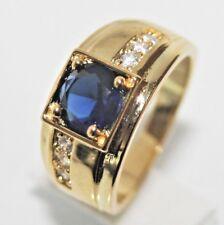 Wunderschön Herren- Damen- Ring Gold 18K GP (750) Saphir blau Gr 58 Ø 18,3 gest.